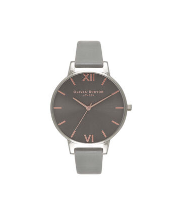OLIVIA BURTON LONDON  Big Dial Grey And Rose Gold Watch OB16BD90 – Big Dial Round in Grey - Front view