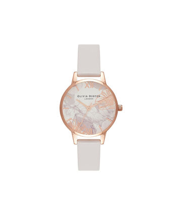 OLIVIA BURTON LONDON Abstract FloralsOB16VM12 – Midi Dial Round in White and Blush - Front view