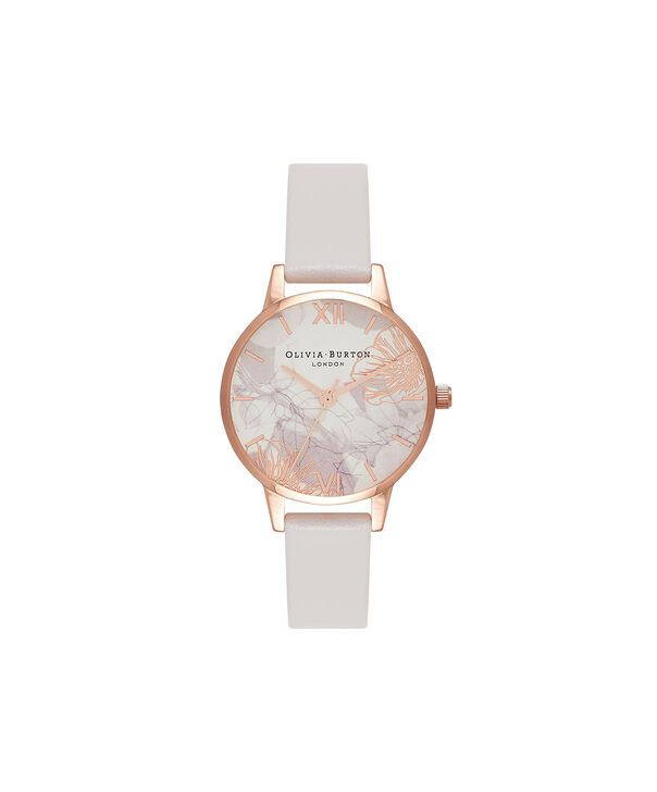 OLIVIA BURTON LONDON Abstract Florals Blush & Rose Gold Watch OB16VM12 – Midi Dial Round in White and Blush - Front view