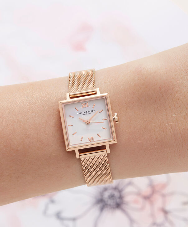 OLIVIA BURTON LONDON  Big Square Dial Rose Gold Mesh Watch OB16SS05 – Big Square in White and Rose Gold - Other view
