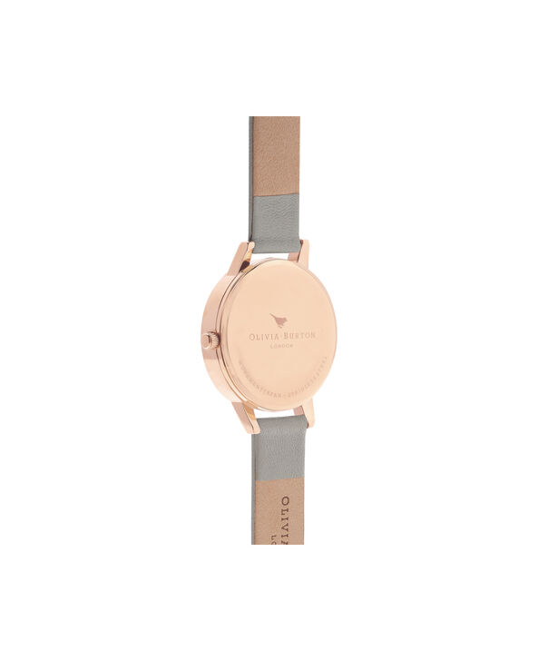 OLIVIA BURTON LONDON  White Dial Grey & Rose Gold Watch OB16MDW05 – Midi Dial Round in White and Grey - Back view