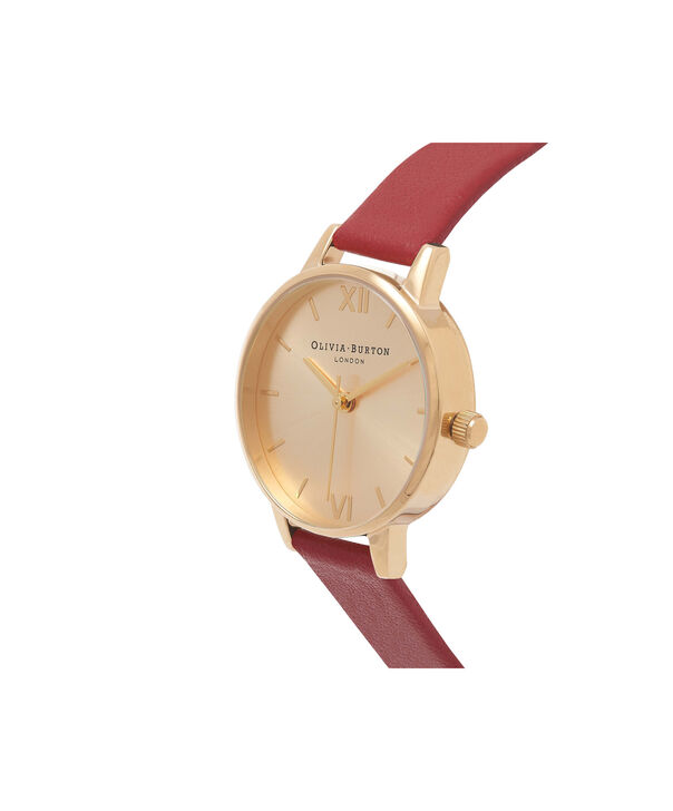 OLIVIA BURTON LONDON  Midi Dial Red And Gold Watch OB15MD63 – Midi Dial Round in Gold and Red - Side view