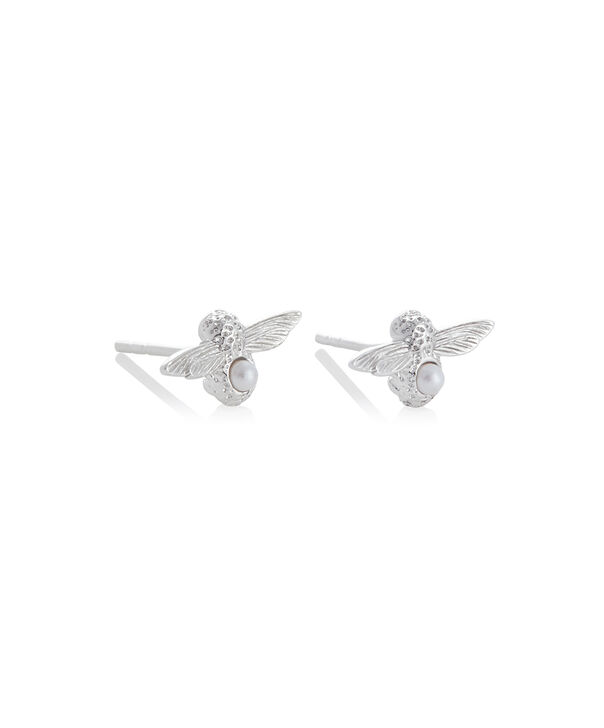 OLIVIA BURTON LONDON Celebration Bee Studs Silver & PearlOBJAME115 – Celebration Bee Studs Silver & Pearl - Side view