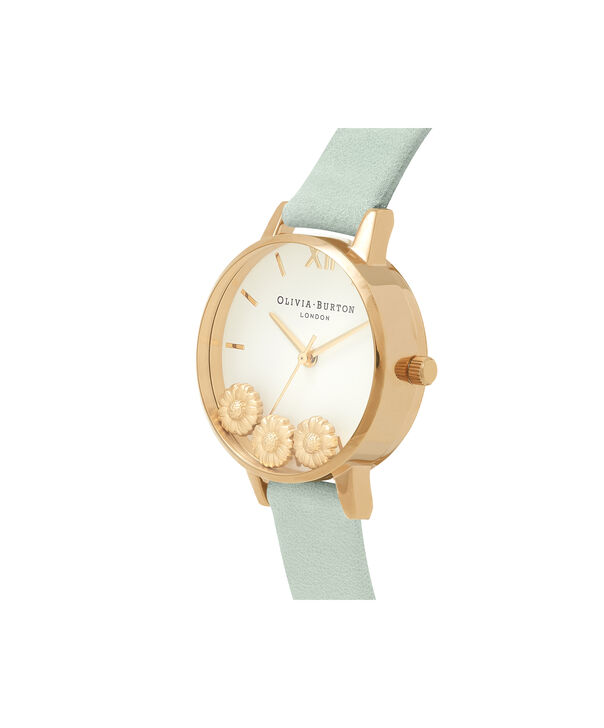 OLIVIA BURTON LONDON  Dancing Daisy Sage & Gold OB16CH17 – Big Dial Round in Gold - Side view