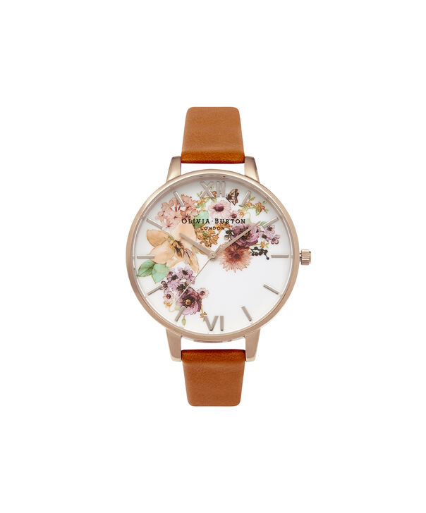 OLIVIA BURTON LONDON  Painterly Prints Tan & Gold Watch OB14FS02 – Big Dial Round in Tan and Rose Gold - Front view