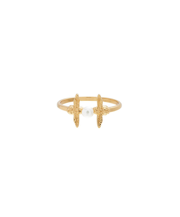 OLIVIA BURTON LONDON  Pearl Bee Ring Gold LOBJ16AMR11L – Pearl Bee Ring - Front view