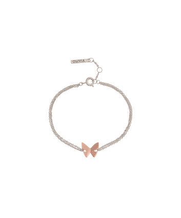 OLIVIA BURTON LONDON Social Butterfly Chain Bracelet Rose Gold and Silver OBJ16SBB04 – Social Butterfly Chain Bracelet - Front view
