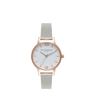 OLIVIA BURTON LONDON  White Dial Rose Gold & Silver Mesh Watch OB16MDW02 – Midi Dial Round in White and Silver - Front view