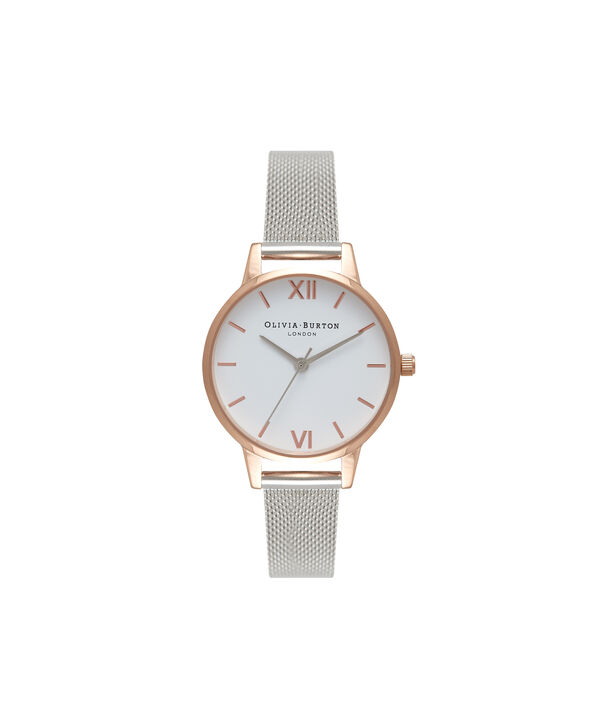 OLIVIA BURTON LONDON White Dial Rose Gold & Silver Mesh WatchOB16MDW02 – Midi Dial Round in White and Silver - Front view
