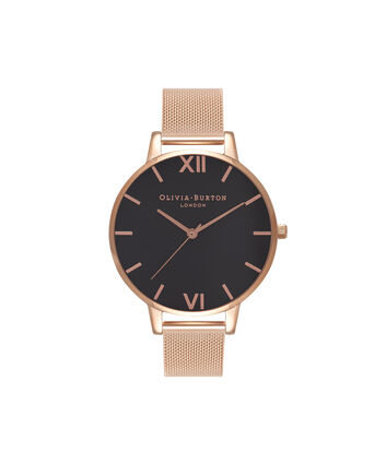 OLIVIA BURTON LONDON  Black Dial & Rose Gold Mesh Watch OB16BD89 – Big Dial Round in Black and Rose Gold - Front view