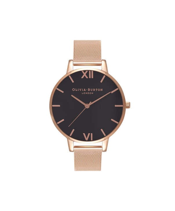Ladies Black Dial & Rose Gold Mesh Watch | Olivia Burton London