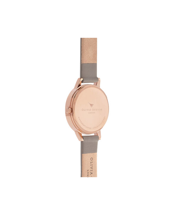 OLIVIA BURTON LONDON  Midi Signature Floral London Grey & Rose Gold Watch OB16EG67 – Midi Dial Round in Floral and Grey - Back view