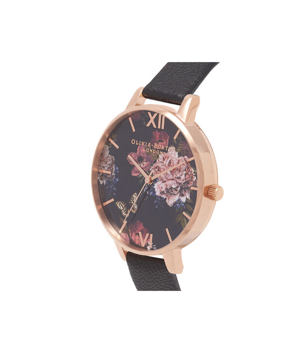 OLIVIA BURTON LONDON  Dark Bouquet Black & Rose Gold Watch OB16WG42 – Big Dial Round in Rose Gold - Side view