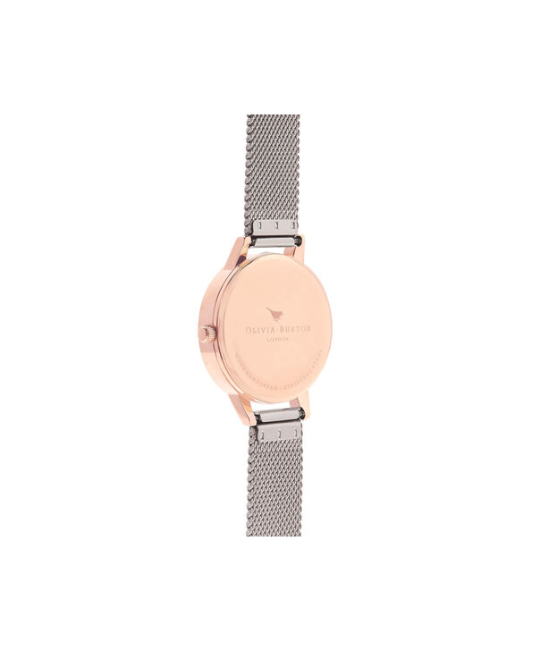 OLIVIA BURTON LONDON White Dial Rose Gold & Silver Mesh WatchOB16MDW02 – Midi Dial Round in White and Silver - Back view