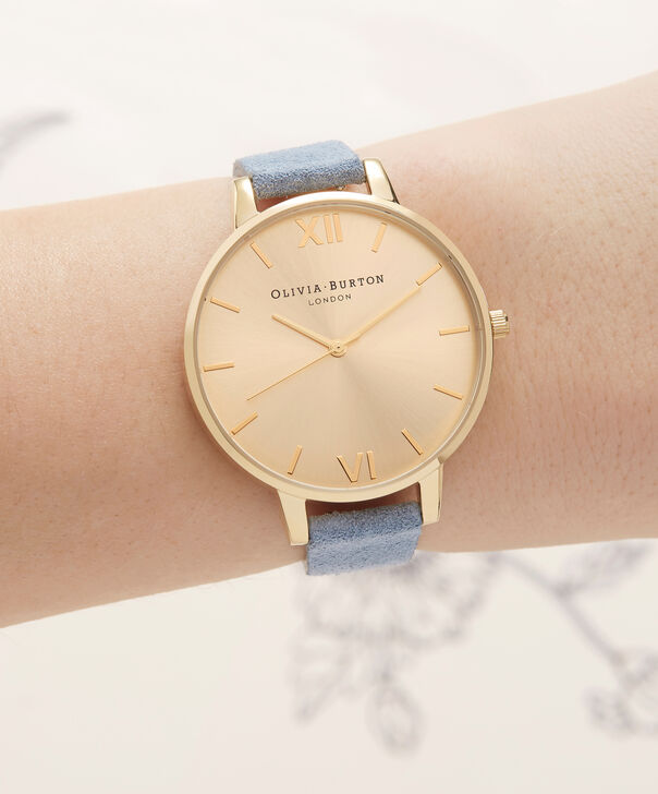 OLIVIA BURTON LONDON  Sunray Dial Chalk Blue Suede & Gold OB16BD111 – Big Dial Round in Gold and Chalk Blue - Other view