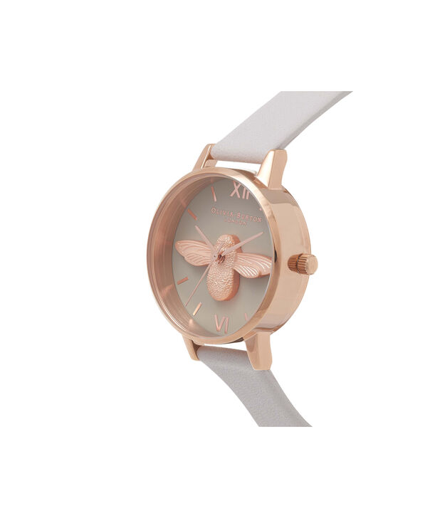 OLIVIA BURTON LONDON  Midi 3D Bee Grey Dial & Rose Gold Watch OB15AM77 – Midi Dial Round in Grey - Side view