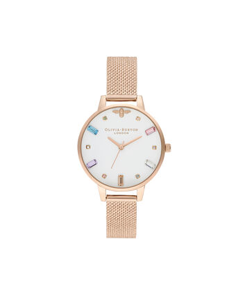 OLIVIA BURTON LONDON Rainbow Bee Pale Rose Gold Bouclé MeshOB16RB15 – Rainbow Bee Pale Rose Gold Bouclé Mesh - Front view