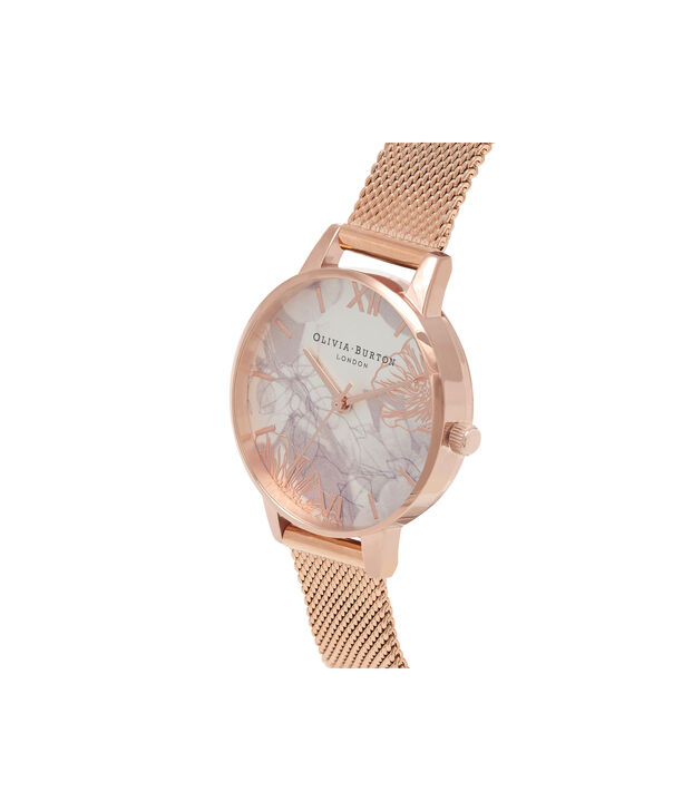 OLIVIA BURTON LONDON Abstract Florals Rose Gold Mesh Watch  OB16VM11 – Midi Dial in White and Rose Gold - Side view