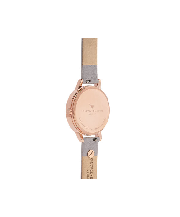 OLIVIA BURTON LONDON  Embellished Strap Butterfly, Grey Lilac & Rose Gold OB16MDW39 – Midi Dial Round in Rose Gold and Grey - Side view