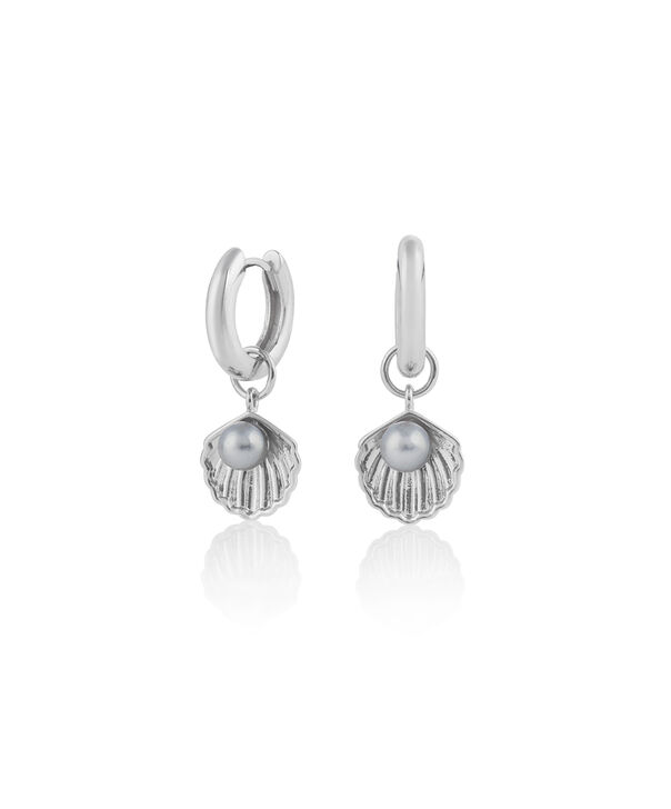 OLIVIA BURTON LONDON Under The Sea Shell Huggie Hoops White Pearl & SilverOBJSCE07 – SHOPBAG_LABEL - Front view