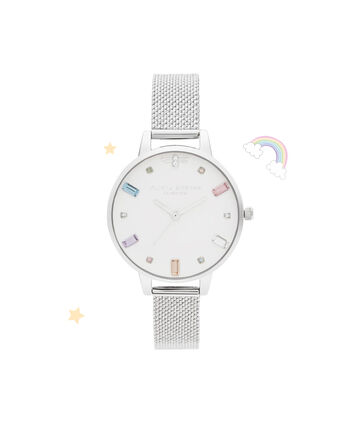 OLIVIA BURTON LONDON Rainbow Bee Demi Silver Boucle MeshOB16RB10 – Demi Dial In Silver And Silver - Front view