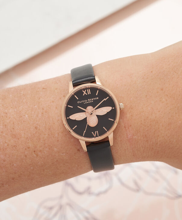 OLIVIA BURTON LONDON  Vegan Friendly Black & Rose Gold Watch OB16VE10 – Midi Dial Round in Black - Other view