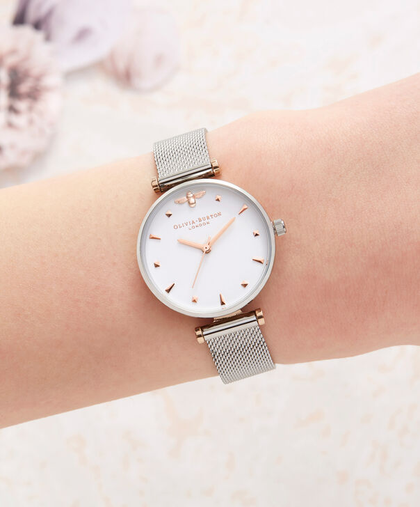 OLIVIA BURTON LONDON  Queen Bee Silver Mesh Watch OB16AM140 – Midi Dial Round in White and Rose Gold - Other view