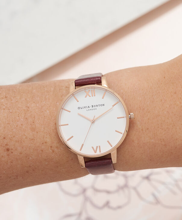 OLIVIA BURTON LONDON  White Dial Burgundy & Rose Gold Watch OB16BDW33 – Big Dial in Rose Gold, White and Burgundy - Other view