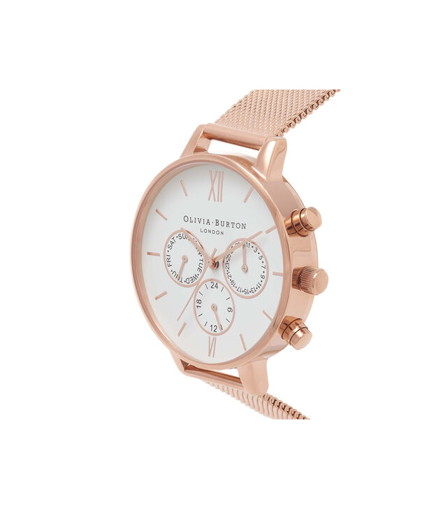 OLIVIA BURTON LONDON  Chrono Detail Rose Gold Watch OB16CG86 – Big Dial in White and Rose Gold - Side view