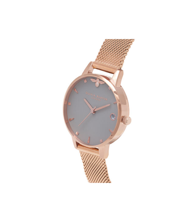 OLIVIA BURTON LONDON  Queen Bee Rose Gold Mesh Watch OB16AM122 – Midi Dial Round in White and Rose Gold - Side view