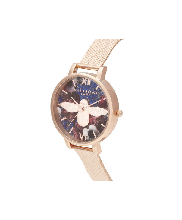 OLIVIA BURTON LONDON Big Dial 3D Bee Lapis Lazuli & Rose Gold Boucle MeshOB16SP11 – Big Dial in Rose Gold and Rose Gold - Side view