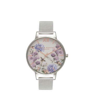 OLIVIA BURTON LONDON  Parlour Bee Blooms Rose Gold & Silver Mesh Watch OB16PL34 – Big Dial in Parlour Floral and Silver - Front view