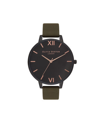 OLIVIA BURTON LONDON  After Dark Matte Black, Khaki & Rose Gold Watch OB16AD05 – Big Dial Round in Black and Khaki - Front view