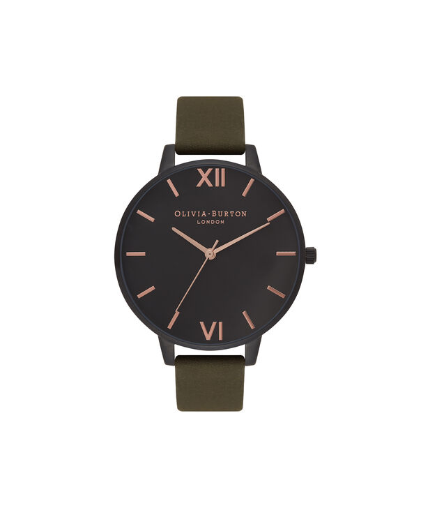 Ladies After Dark Matte Black, Khaki & Rose Gold Watch | Olivia Burton London