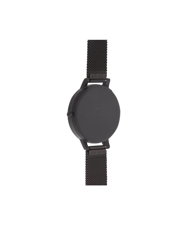 OLIVIA BURTON LONDON  After Dark Matte Black & Rose Gold Watch OB16AD29 – Big Dial Round Black - Back view