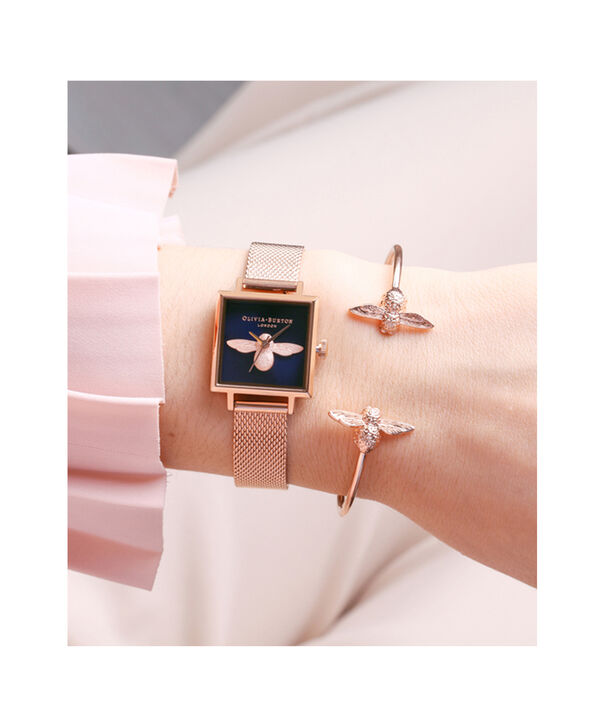OLIVIA BURTON LONDON  Square Dial 3D Bee Midnight & Rose Gold Mesh Watch OB16AM96 – Midi Square Navy and Rose Gold - Other view