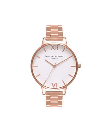 OLIVIA BURTON LONDON  White Dial Bracelet Rose Gold Watch OB16BL33 – Big Dial Round in White and Rose Gold - Front view