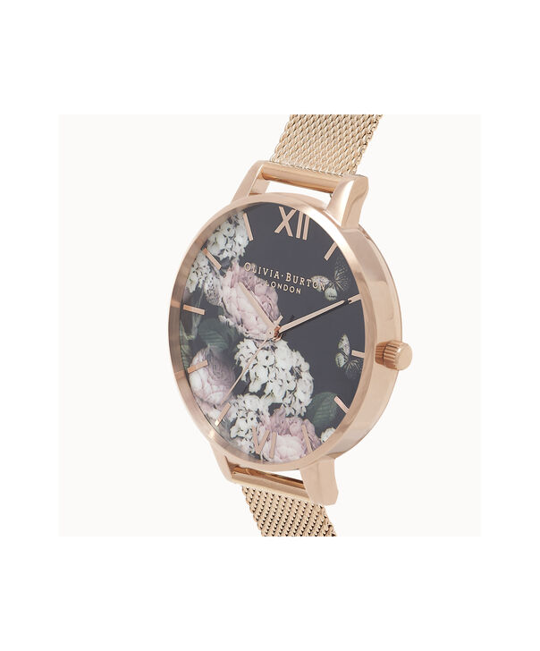 OLIVIA BURTON LONDON Signature Floral Black Dial & Rose Gold MeshOB16WG55 – Big Dial In Rose Gold And Rose Gold - Side view