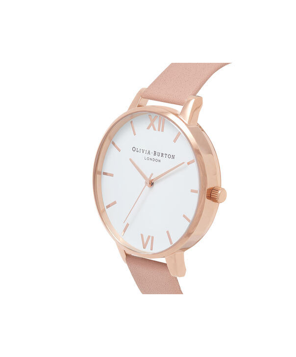 OLIVIA BURTON LONDON Big Dial Dusty Pink Watch, Rose GoldOB16BDW25 – Big Dial Round in White and Dusty Pink - Side view
