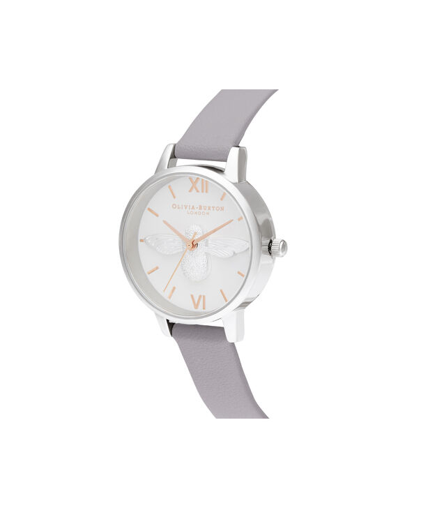OLIVIA BURTON LONDON 3D Bee Midi Dial Grey Lilac Rose Gold & SilverOB16AM163 – Demi Dial In Grey And Silver - Side view