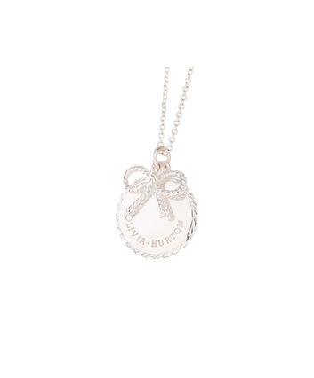 OLIVIA BURTON LONDON  Vintage Bow Coin Necklace Silver OBJ16VBN03 – Vintage Bow Disc Necklace - Front view