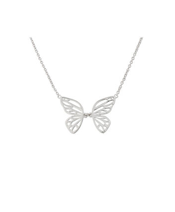 OLIVIA BURTON LONDON Butterfly Wing Necklace SilverOBJ16EBN06 – Butterfly Wing Necklace - Front view