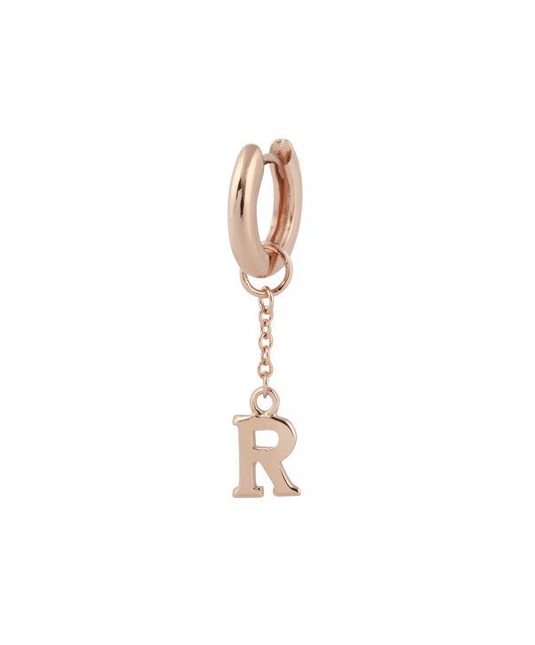 OLIVIA BURTON LONDON  R Alphabet Huggie Charm Rose Gold OBJ16HCRGR – Charms - Side view