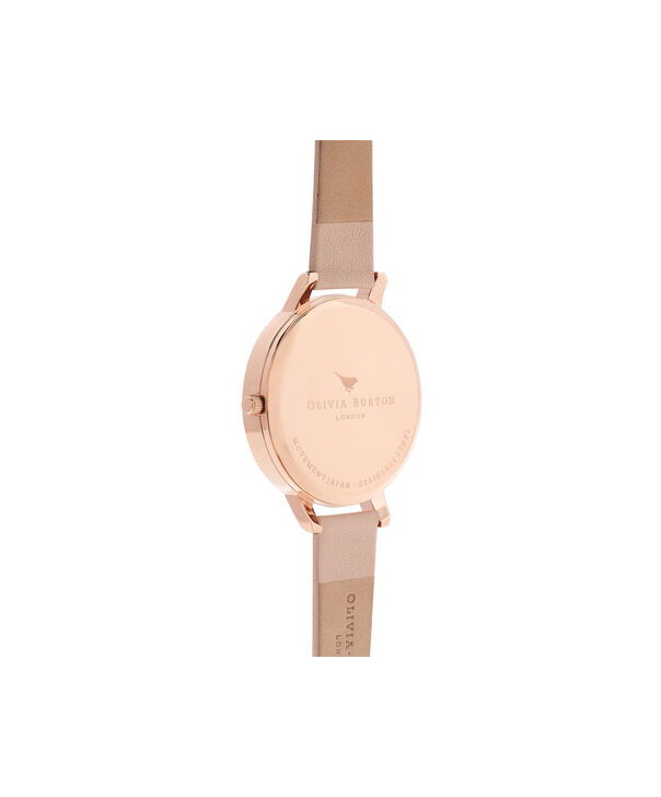 OLIVIA BURTON LONDON  Painterly Prints Hummingbird Nude Peach & Rose Gold Watch OB15PP12 – Big Dial Round in Floral and Peach - Back view