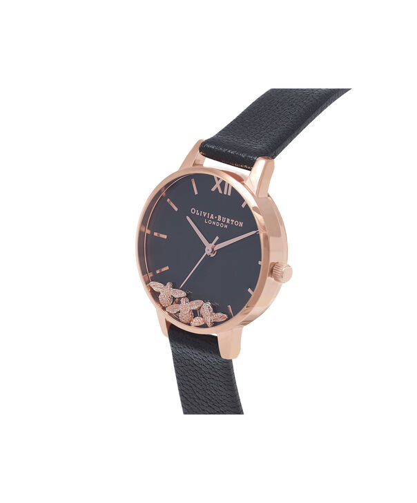 OLIVIA BURTON LONDON Busy Bee Black & Rose Gold Watch OB16CH06 – Midi Dial Round in Black and Rose Gold - Side view