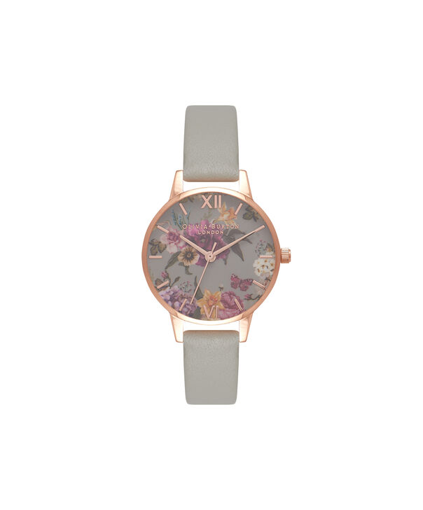 OLIVIA BURTON LONDON  Dark Bouquet Grey & Rose Gold Watch OB16EG80 – Midi Dial in Rose Gold and Grey - Front view