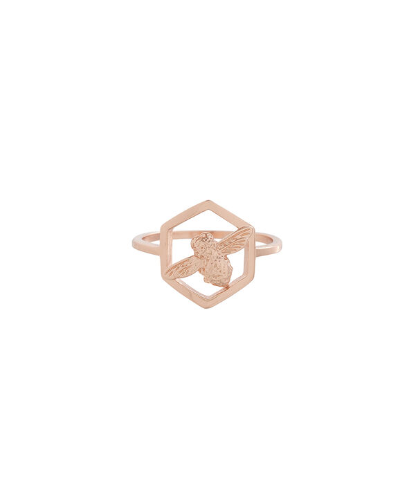 OLIVIA BURTON LONDON  Honeycomb Bee Ring Rose Gold OBJ16AMR06 – Honeycomb Bee Ring - Front view