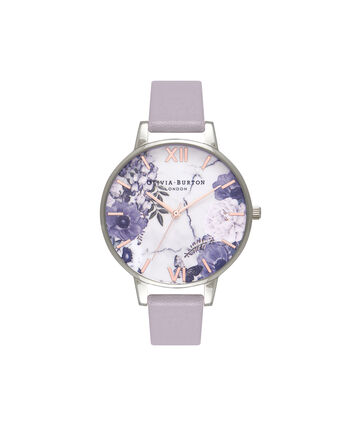 OLIVIA BURTON LONDON  Marble Floral Grey Lilac, Rose Gold & Silver Watch OB16MF05 – Big Dial in Rose Gold and Grey Lilac - Front view