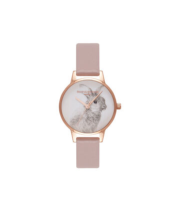 OLIVIA BURTON LONDON Woodland AnimalsOB16VE06 – Midi Dial Round in Rose and Rose Gold - Front view