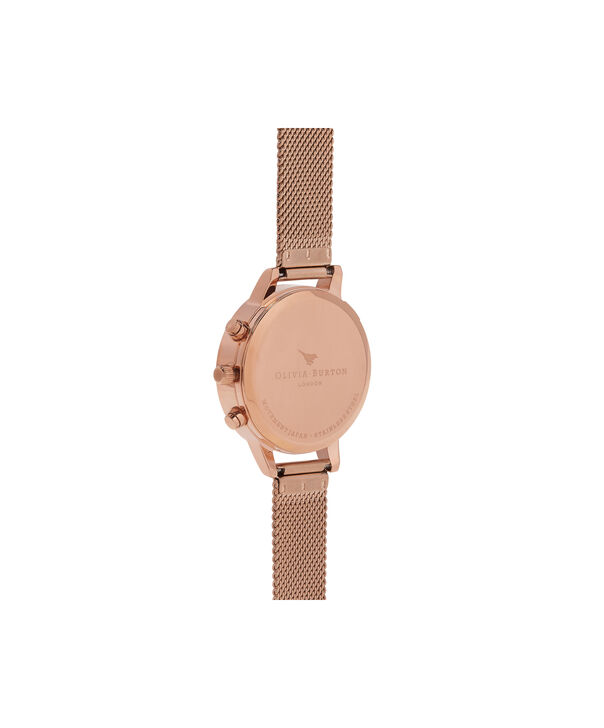 OLIVIA BURTON LONDON  Chrono Detail Rose Gold Watch OB16CGM65 – Midi Dial in Chocolate and Rose Gold - Back view